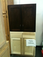 Poplar Cabinet Samples. Note* Top Wall Cabinet Stained For Display